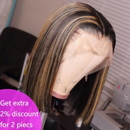 #4/27 Highlight Short Bob Ear To Ear Brazilian Remy Hair Ombre Lace Front Wig