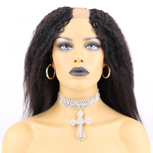 Human Hair Brazilian U Part Wig Kinky Straight, Body Wave, Straight
