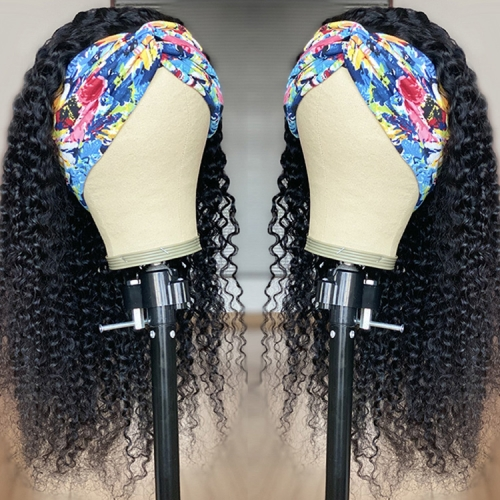 Afro Curl Headband Wig Kinky Curly Human Hair For Black Women
