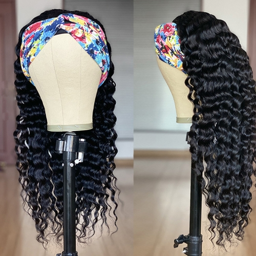 Natural Curly Human Hair Lace Front Deep Wave Brazilian Hair Wig With Headband