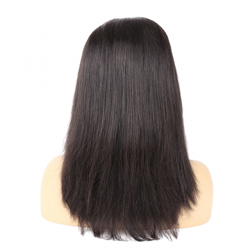 Thick Straight Natural Black Color Virgin Human Hair Closure Wig
