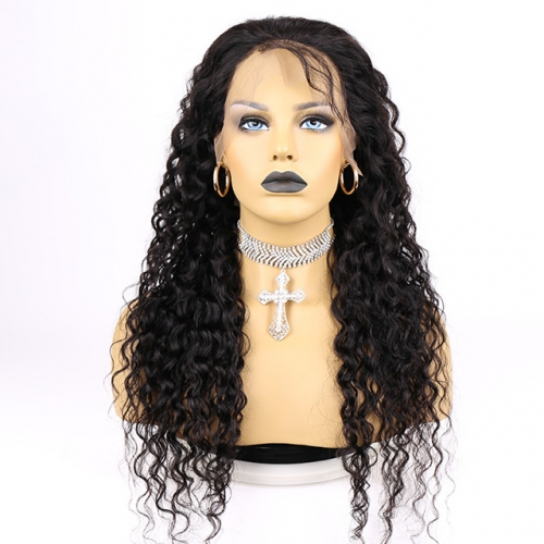 Long Hair Water Wave Human Hair Full Lace Closure Front Wig