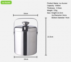 Double insulation stainless steel ice bucket and ice clip