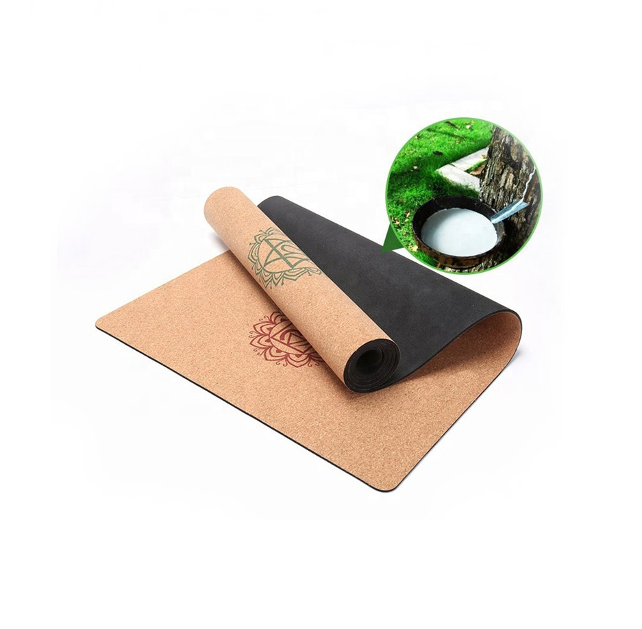 Natural rubber back eco friendly cork yoga mat for ...
