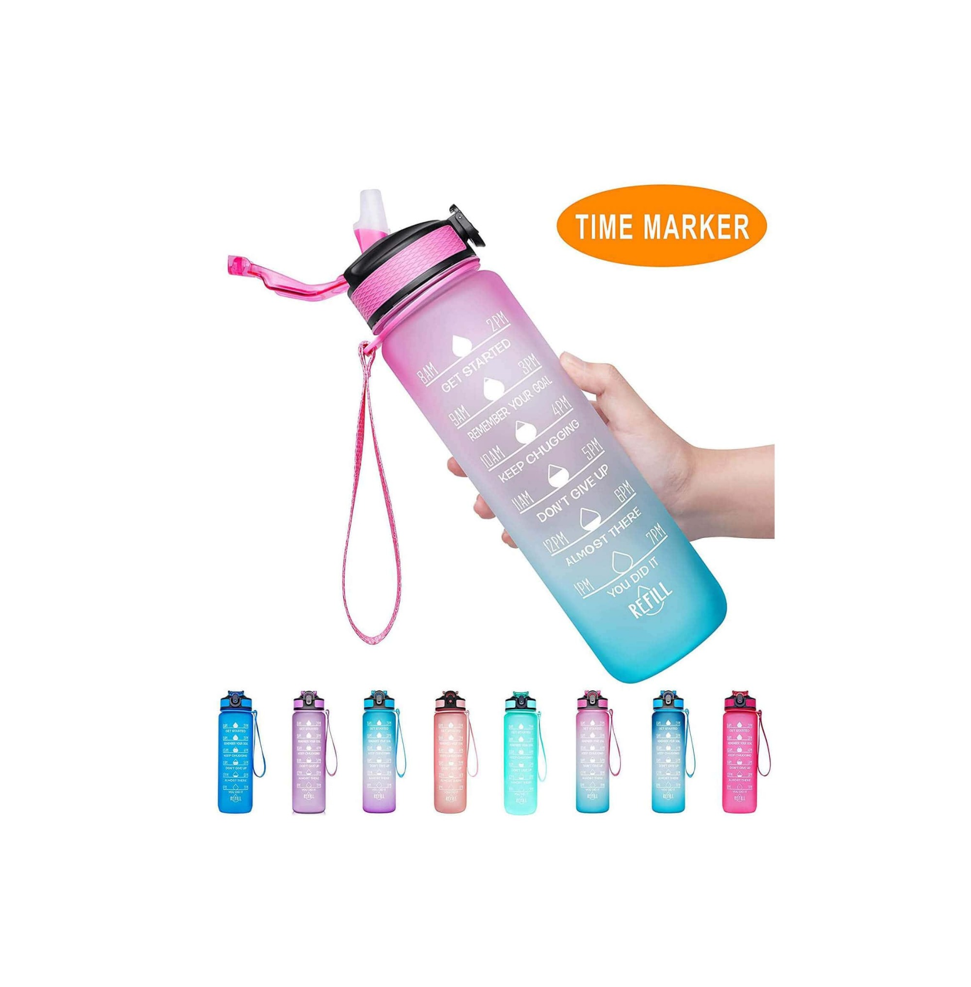 Water Bottle with Time Marker color