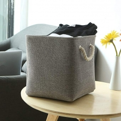 Collapsible Fabric Storage Baskets Organizer Bin with Cotton Rope Handles