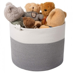 Eco Friendly Handmade Laundry Basket Cotton Rope Basket with Handle for Baby Toy Storage Basket