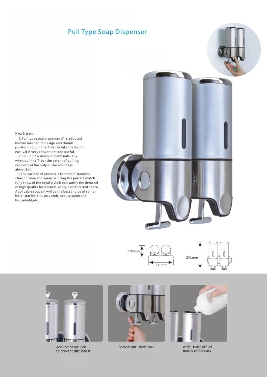 Pull Type Wall Mounted Soap Dispenser Features