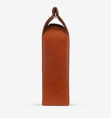 Single Bottle Portable PU Leather Wine Bag Foldable Leather Wine Gift Bags