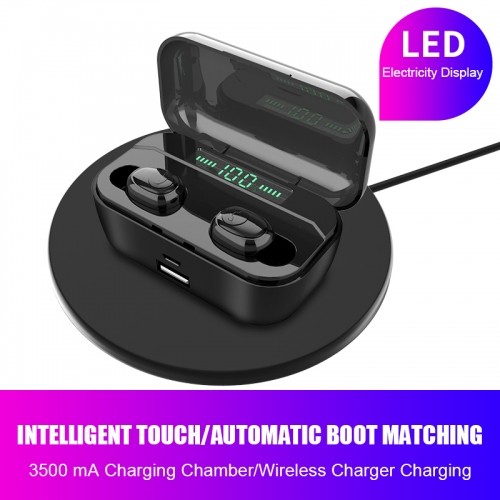 Private mode wireless earbuds bluetooth 5.0 with  3500mAh charging Box, Black Technology Wireless Charging In-Ear F9