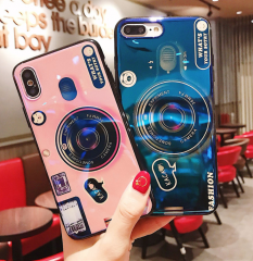Cool IMD Camera Design Blue Ray Phone Case, Soft TPU Case with Popsocket