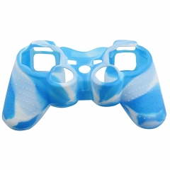 For PS3 Controller Silicon case blue+white