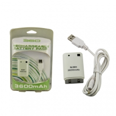 Rechargeable Battery Pack/USB Charge 3600mAh for XBOX 360