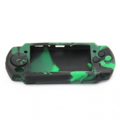 PSP 3000 silicon Case Camouflage Green+black