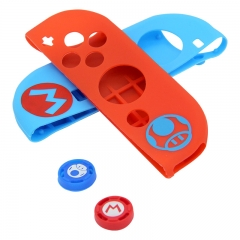 Protective Anti-Slip Soft Silicone Skin Case Set for NS switch Joy-Con Controller red and blue with Analog Caps Silicone Rubber