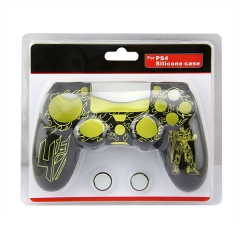 New Silicone Skin Case for PS4 Controller With packaging Yellow+Black