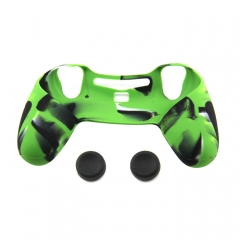 PS4 Controller Silicone Case with 2pcs joystick Caps Camouflage Light Green colors