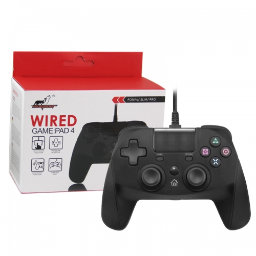 PS4/PS3/PC Wired Controller with Sensor Function Black Color