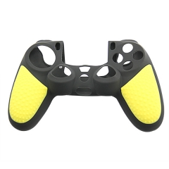 New Silicone Skin Case for PS4 Controller yellow+black with PP bag