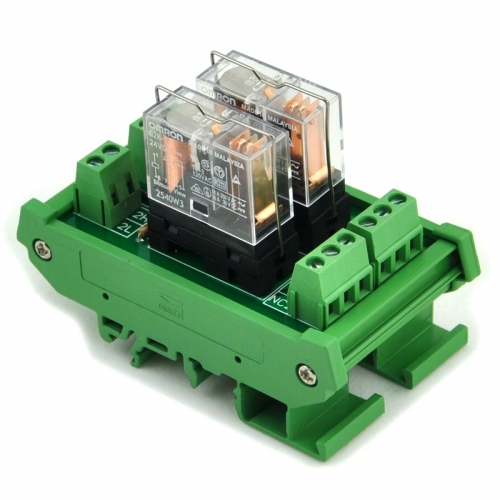 ELECTRONICS-SALON DIN Rail Mount AC/DC 24V Control 2 SPDT 16Amp Pluggable Power Relay Module.