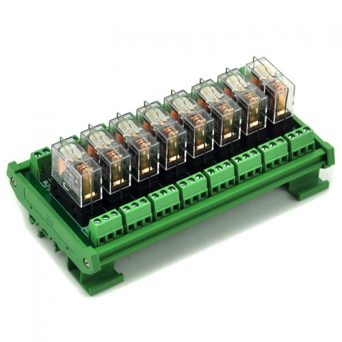 ELECTRONICS-SALON DIN Rail Mount AC/DC 12V Control 8 SPDT 16Amp Pluggable Power Relay Module.