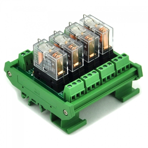 ELECTRONICS-SALON DIN Rail Mount AC/DC 24V Control 4 SPDT 16Amp Pluggable Power Relay Module.