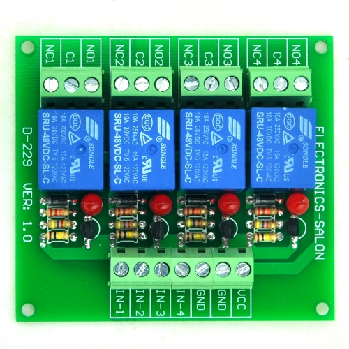 ELECTRONICS-SALON Four(4) SPDT 10Amp Power Relay Module, DC48V Version, for Arduino / PIC / 8051
