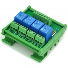 ELECTRONICS-SALON DIN Rail Mount 4 SPDT Power Relay Interface Module, 10A Relay, 48V Coil.