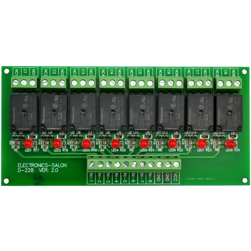 ELECTRONICS-SALON 8 Channel 10Amp SPDT Power Relay Module Board (Operating Voltage: DC 24V)