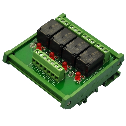 ELECTRONICS-SALON DIN Rail Mount 4 SPDT 10Amp Power Relay Interface Module, DC 12V Version.