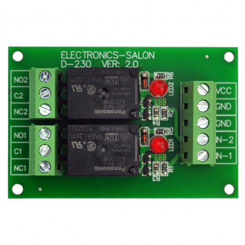 ELECTRONICS-SALON 2 SPDT 10Amp Power Relay Module, DC 5V Version.