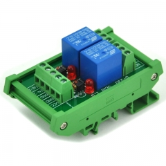 ELECTRONICS-SALON DIN Rail Mount 2 SPDT Power Relay Interface Module, 10A Relay, 48V Coil.