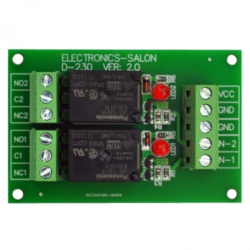 ELECTRONICS-SALON 2 SPDT 10Amp Power Relay Module, DC 12V Version.