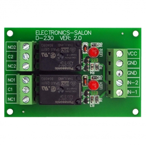 ELECTRONICS-SALON 2 SPDT 10Amp Power Relay Module, DC 24V Version.