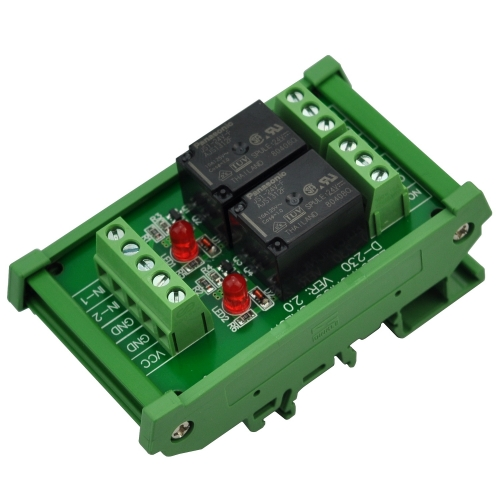 ELECTRONICS-SALON DIN Rail Mount 2 SPDT 10Amp Power Relay Interface Module, DC 24V Version.