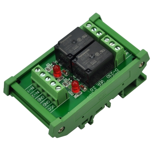ELECTRONICS-SALON DIN Rail Mount 2 SPDT 10Amp Power Relay Interface Module, DC 5V Version.