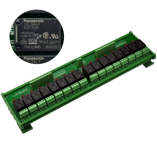 ELECTRONICS-SALON DIN Rail Mount 16 SPDT 10Amp Power Relay Interface Module, DC 24V Version.