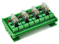 ELECTRONICS-SALON DIN Rail Mount Fused 4 DPDT 5A Power Relay Interface Module, G2R-2 24V DC Relay