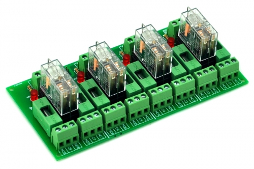ELECTRONICS-SALON Fused 4 DPDT 5A Power Relay Interface Module, G2R-2 5V DC Relay