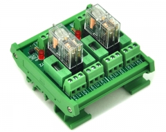 ELECTRONICS-SALON DIN Rail Mount Fused 2 DPDT 5A Power Relay Interface Module, G2R-2 24V DC Relay