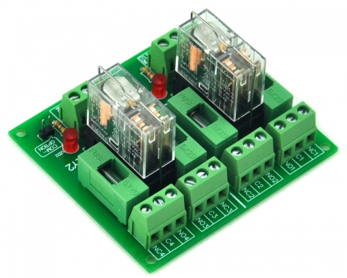 ELECTRONICS-SALON Fused 2 DPDT 5A Power Relay Interface Module, G2R-2 12V DC Relay