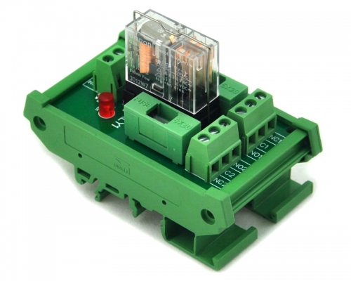 ELECTRONICS-SALON DIN Rail Mount Fused DPDT 5A Power Relay Interface Module, G2R-2 24V DC Relay.