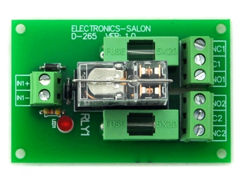 ELECTRONICS-SALON Fused DPDT 5A Power Relay Interface Module, G2R-2 5V DC Relay.
