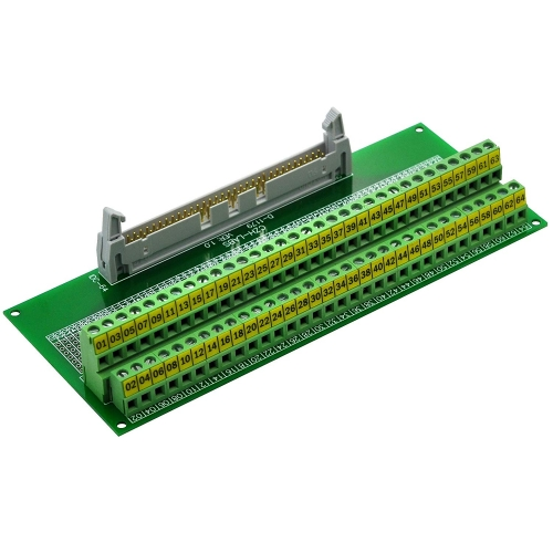 "CZH-LABS IDC-64 Male Header Connector Breakout Board Module, IDC Pitch 0.1"", Terminal Block Pitch 0.2"""