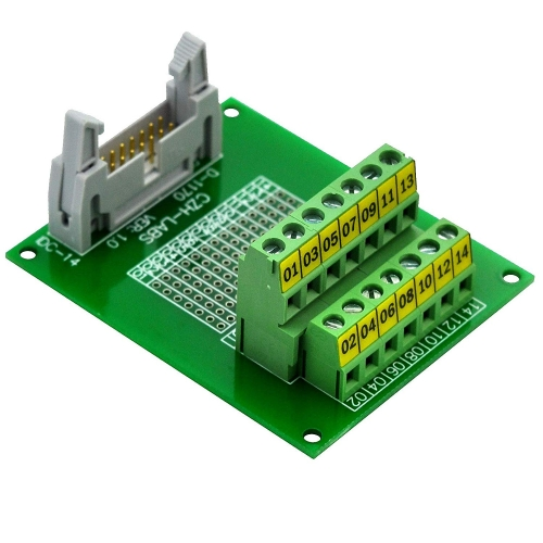 "CZH-LABS IDC-14 Male Header Connector Breakout Board Module, IDC Pitch 0.1"", Terminal Block Pitch 0.2"""