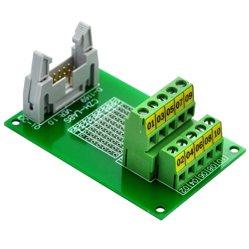 "CZH-LABS IDC-10 Male Header Connector Breakout Board Module, IDC Pitch 0.1"", Terminal Block Pitch 0.2"""