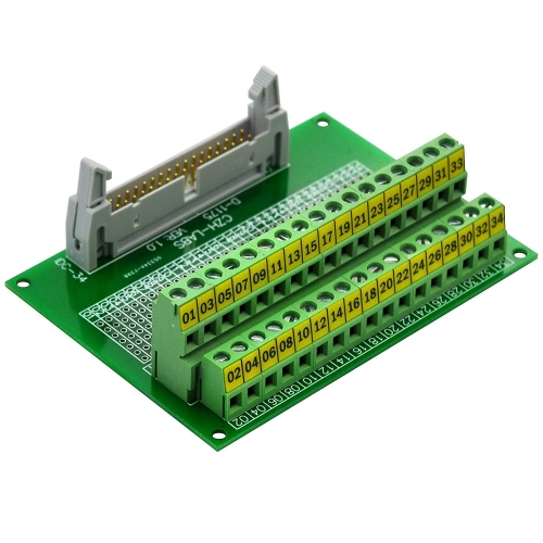 "CZH-LABS IDC-34 Male Header Connector Breakout Board Module, IDC Pitch 0.1"", Terminal Block Pitch 0.2"""