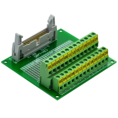"CZH-LABS IDC-26 Male Header Connector Breakout Board Module, IDC Pitch 0.1"", Terminal Block Pitch 0.2"""