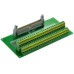 "CZH-LABS IDC-50 Male Header Connector Breakout Board Module, IDC Pitch 0.1"", Terminal Block Pitch 0.2"""