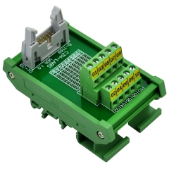 "CZH-LABS DIN Rail Mount IDC-10 Male Header Connector Breakout Board Interface Module, IDC Pitch 0.1"", Terminal Block Pitch 0.2"""